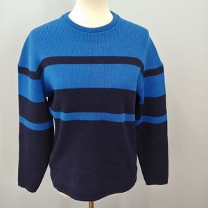 VINTAGE Ski Sweater, Blue Stripe, M L